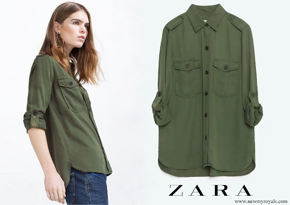 Princess Eugenie wore Zara Military Style Shirt