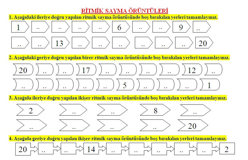 1 Sinif Matematik Ritmik Sayma Oruntuleri Calisma Kagidi Ders