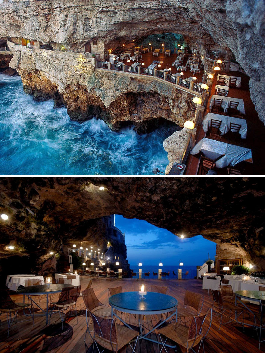 35 Of The World's Most Amazing Restaurants To Eat In Before You Die - Dine In The Cave, Ristorante Grotta Palazzese, Puglia, Italy