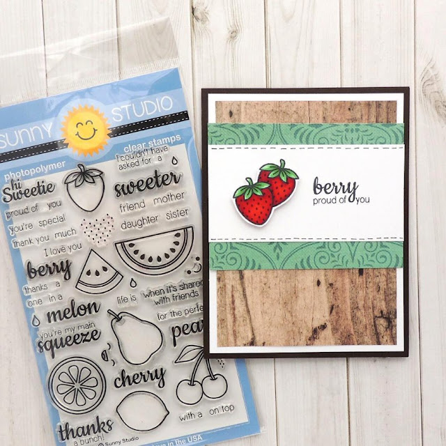Sunny Studio Stamps: Fresh & Fruity strawberry card by Creations Galore