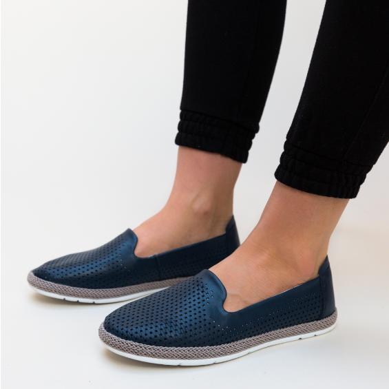 Pantofi Casual dama Bleumarin piele naturala fara sireturi ieftini