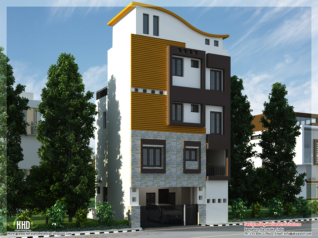 Mix collection of 3d home elevations and interiors for Small house design 3rd floor