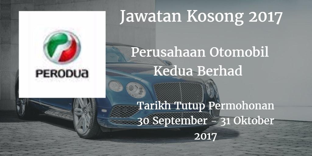 Jawatan Kosong PERODUA 30 September - 31 Oktober 2017