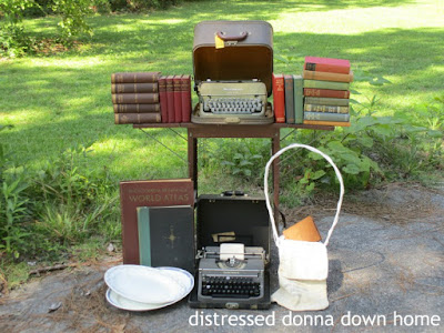 vintage finds, vintage typewriters, estate sale, vintage books, ironstone platters