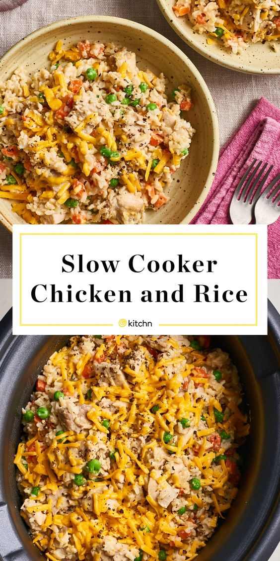 The Best Creamy, Cheesy Slow Cooker Chicken and Rice