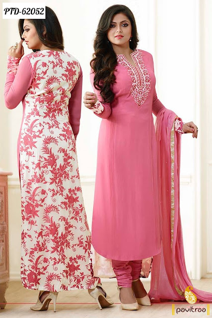 Indian tv actress Drashti Dhami special pink color chiffon designer salwar suit online shopping collection with low cost
