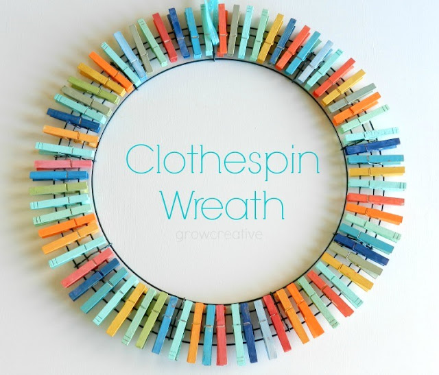 colorful clothespin wreath diy