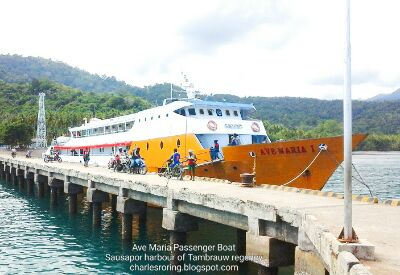 Passenger boat at Sausapor harbor of Tambrauw regency