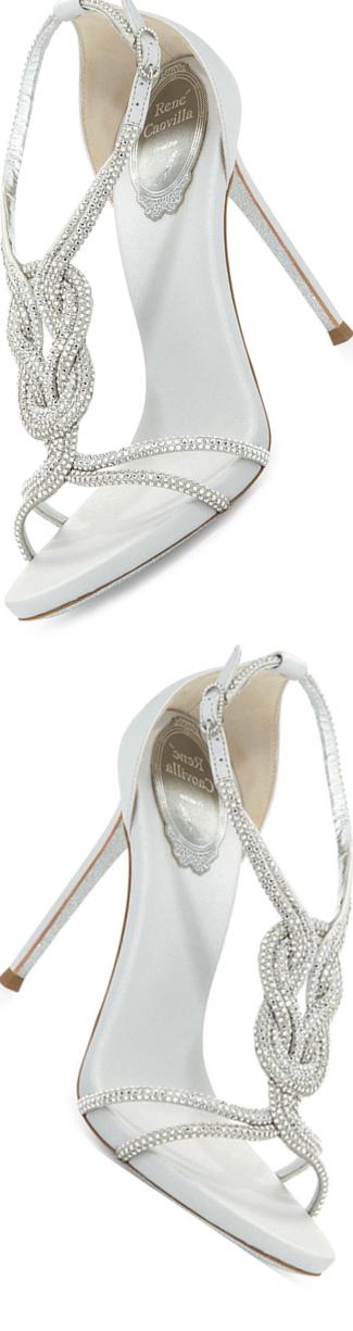 Rene Caovilla Twist-Strap Crystal-Embellished Sandal,