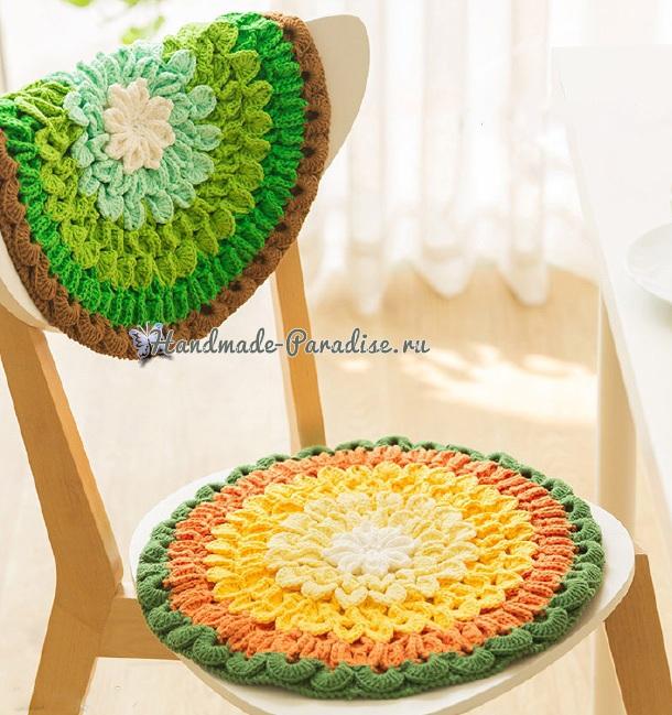 «Лотос» крючком - декоративная сидушка для стула (4)