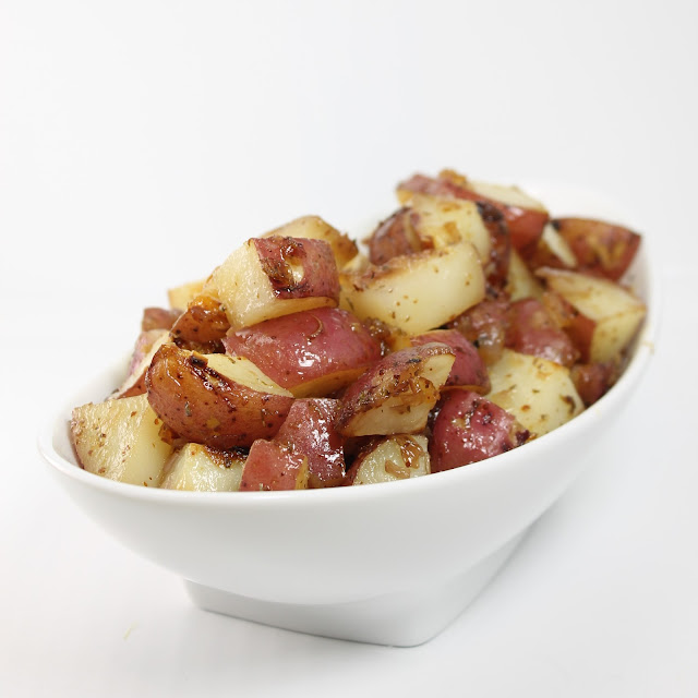 Honey Roasted Potatoes in a serving dish
