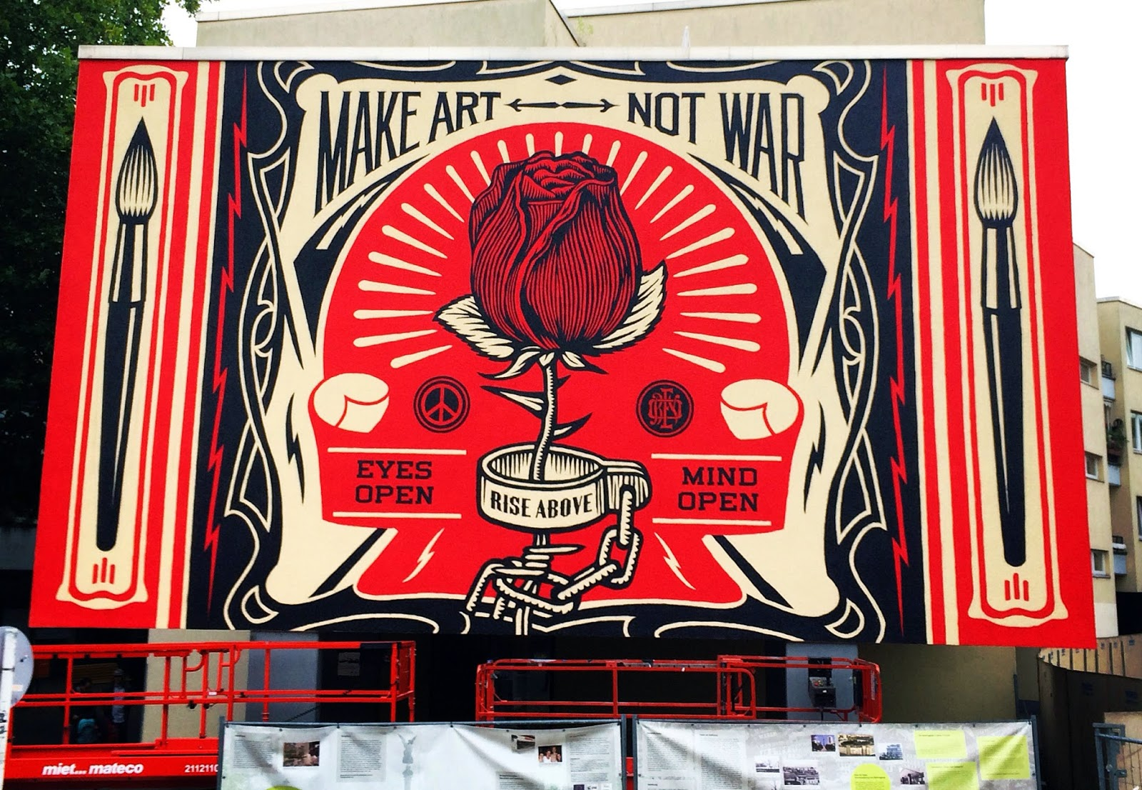 Mural Painting On Wall Streetartnews Shepard Fairey Unveils Make Art Not War