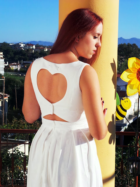 Redhead, Choies, Choiesclothes,outfit,white,white dress,dress,heart,open back winter, 2013, 2014