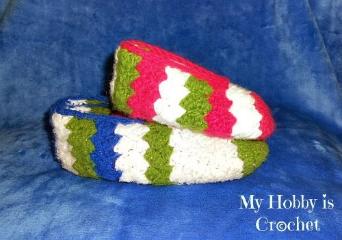 Tip Toe Slippers - Free Crochet Pattern: Written Instructions and Chart