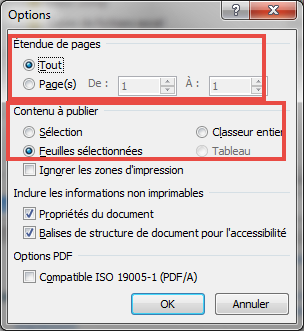 Options de creation de pdf