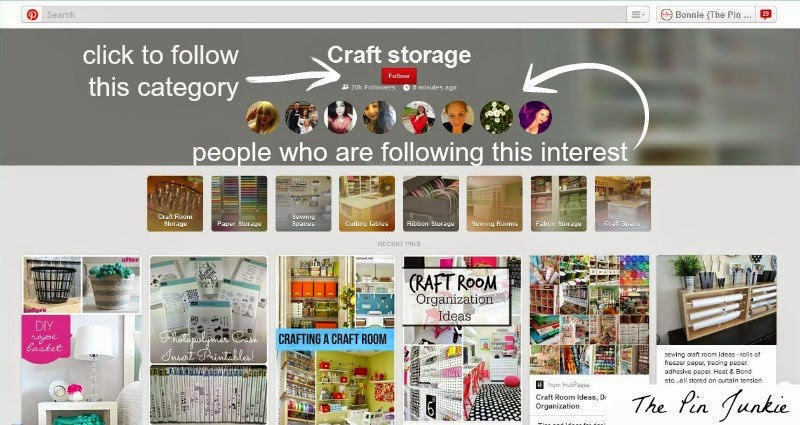 follow by interest on Pinterest