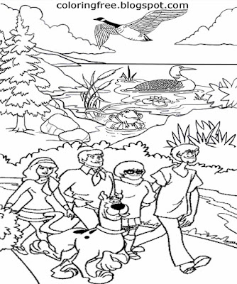 Yellowstone cartoon ghost hunt team Scooby Doo characters national park 101 mystery coloring sheets