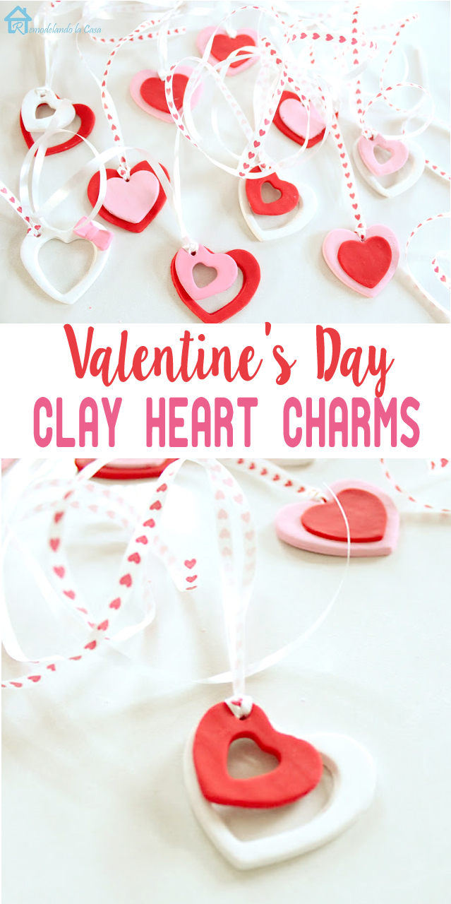 red, white and pink clay heart charms