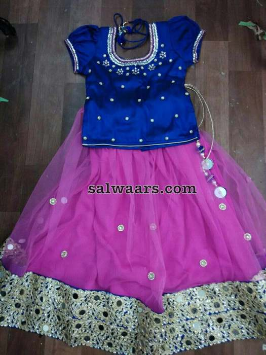 Pink and Blue Pearl Lehenga