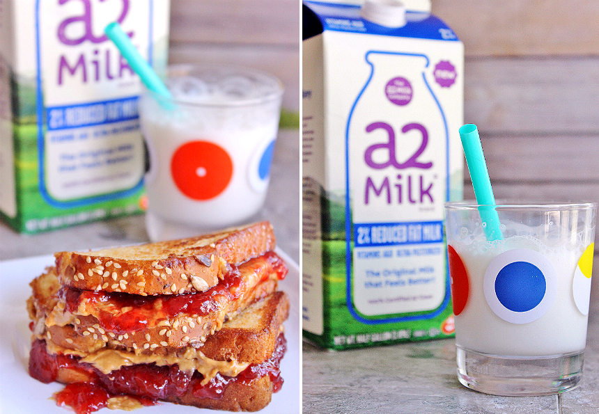 a2 Milk® helps those with self diagnosed post dairy digestive discomfort enjoy real milk again. Pair it with our favorite back to school snack, the grilled peanut butter and jelly sandwich! #a2milk #IC (AD)