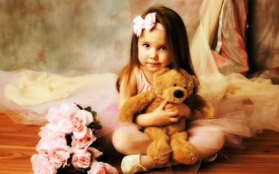 so cute girl with teddy