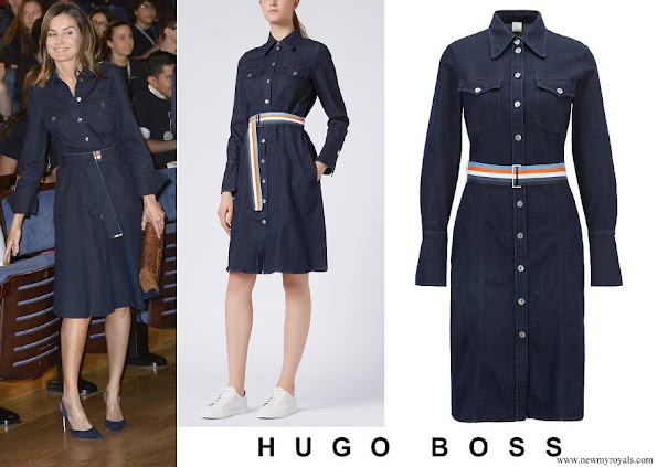 Queen Letizia wore Caddli stretch denim dress by Hugo Boss