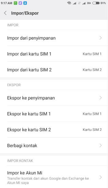 Cara Export Import Data Kontak Xiaomi