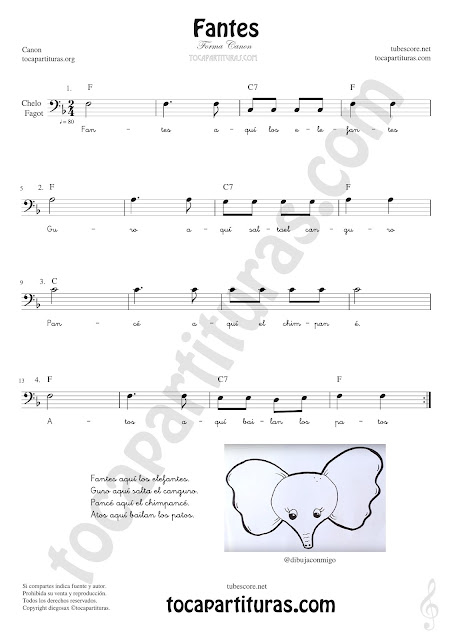 Violonchelo y Fagot Partitura de Fantes Sheet Music for Cello and Bassoon Music Scores