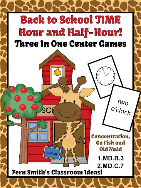Fern Smith's FREE Back to School Time Three in One Center Games