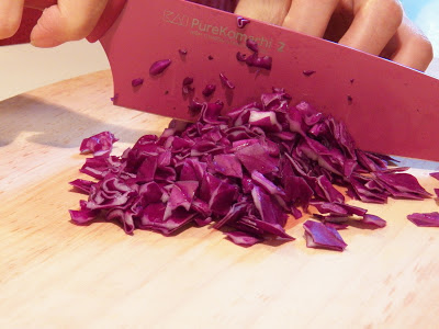 chopping red cabbage