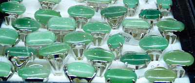 jade silver rings with green cabochons for men