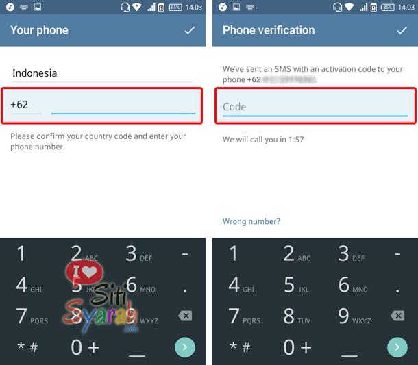 cara aktivasi telegram di android