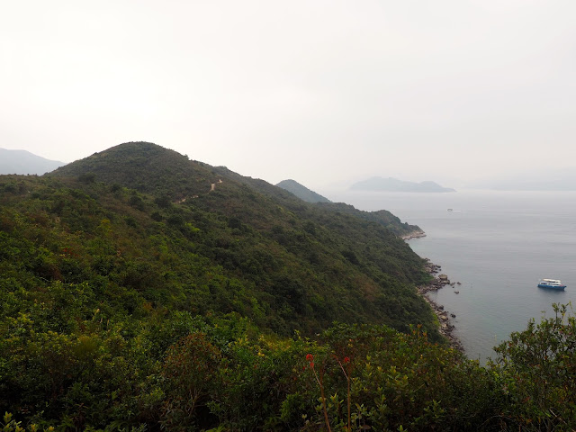 Looking along the hiking trail down the length of Sharp Island, Hong Kong