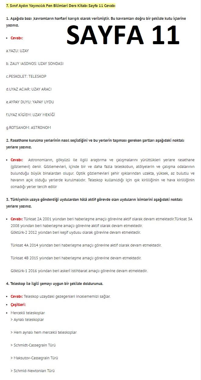 7. Sınıf Fen Bilimleri Ders Kitabı Cevapları Aydın Yayınları SAYFA 11