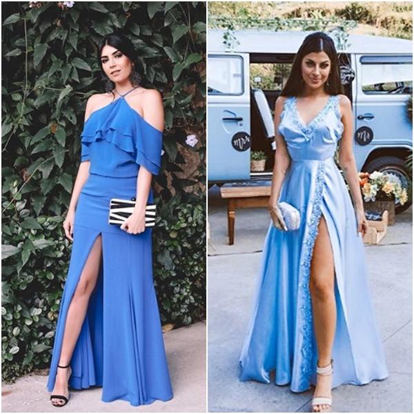 Casamento Niina Secrets: Look das Convidadas Vestido Festa Azul Nah Cardoso Jéssica Flores