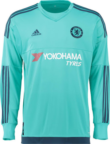 a2319919b Thibaut Courtois will wear the new mint green Chelsea Goalkeer Kit in the 15 -16 season. The Chelsea 2015-16 Keeper Jersey boasts accents in dark blue  as ...