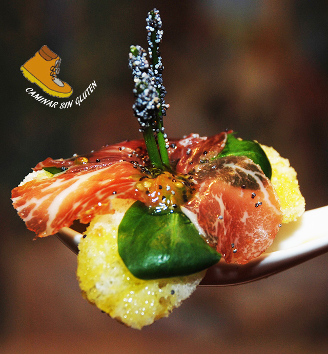 Flor de petalos de jamón sin gluten