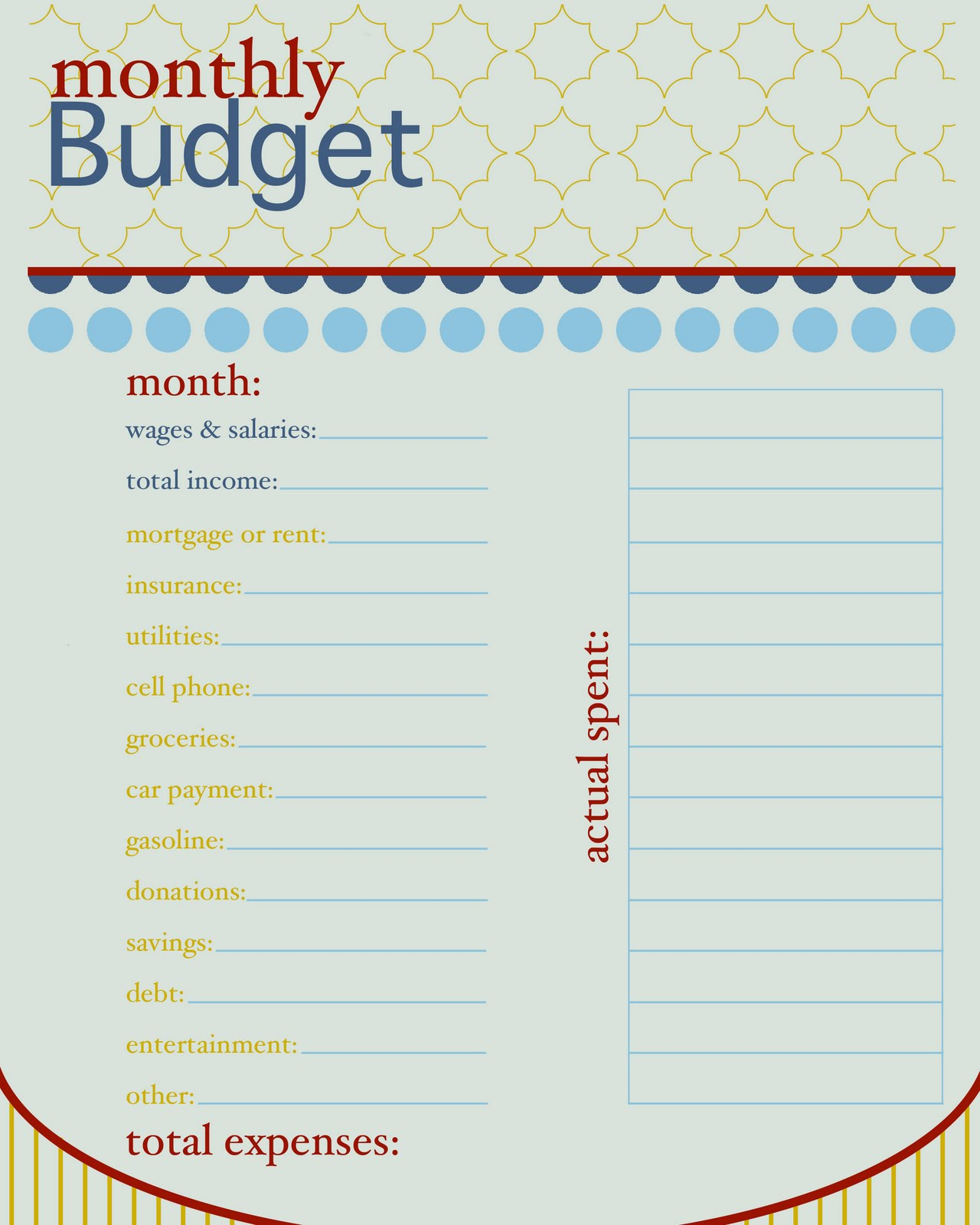 Sissyprint Freebie Friday Monthly Budget