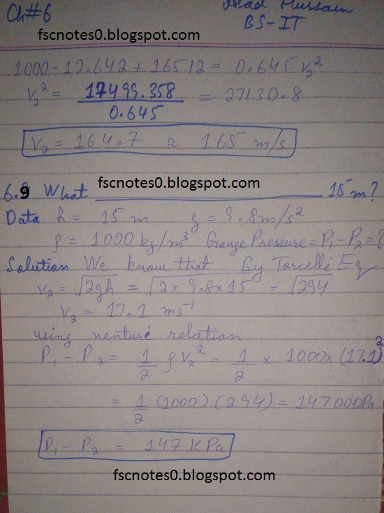 F.Sc ICS Notes: Physics XI: Chapter 6 Fluid Dynamics Numerical Problems Asad Hussain 5
