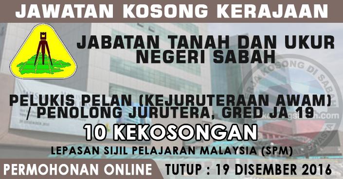 Jawatan Kosong Pelukis Pelan Penolong Jurutera Gred Ja19 Jawatan Kosong Terkini Negeri Sabah
