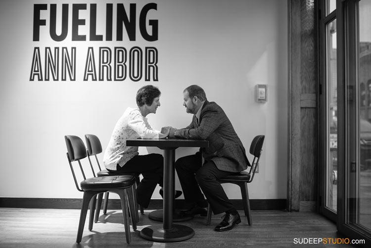 Downtown Ann Arbor Coffee shop Engagement Session - SudeepStudio.com Ann Arbor Wedding Photographer