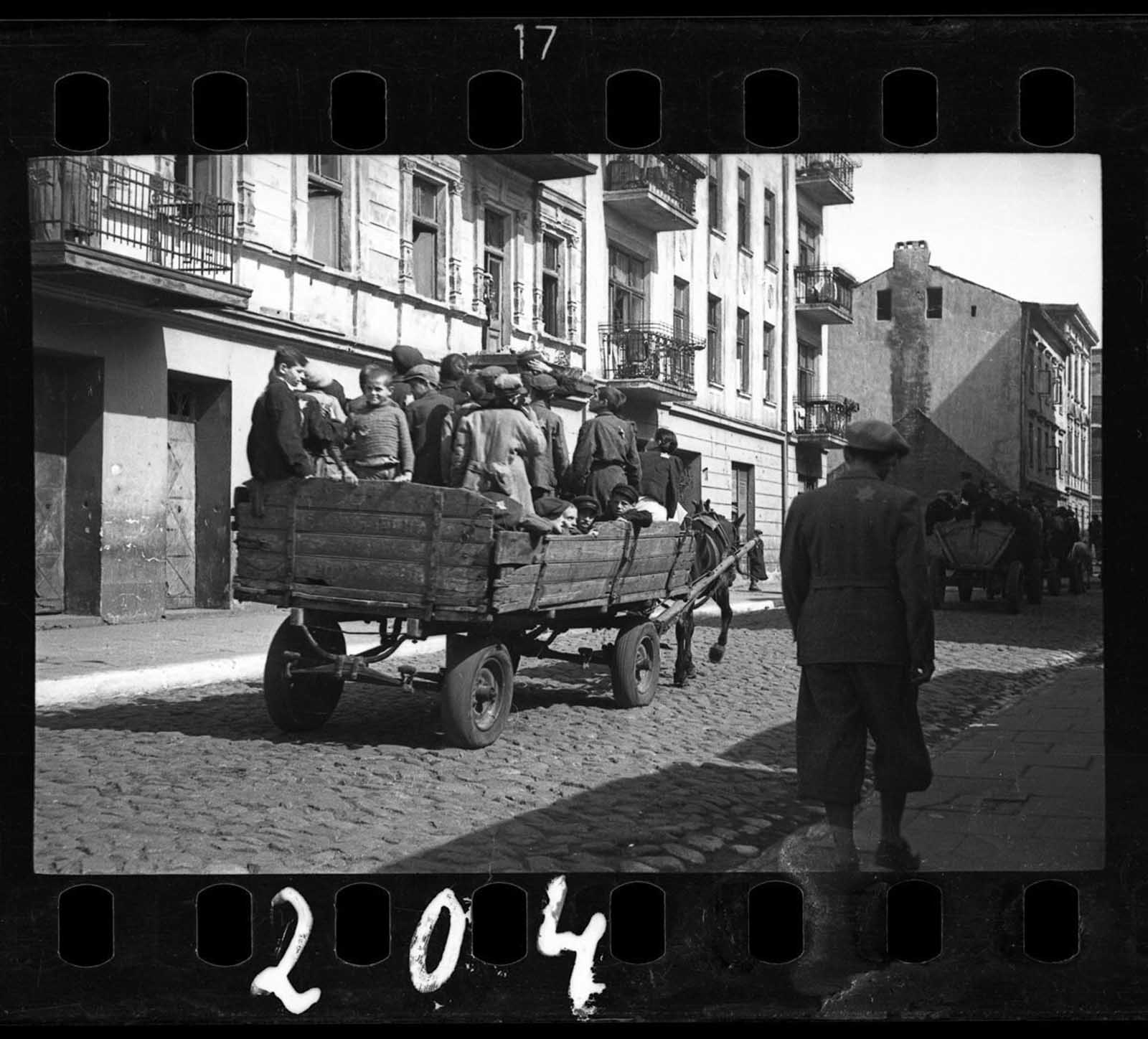 Children being transported to Chelmno nad Nerem (renamed Kulmhof) death camp. 1942.