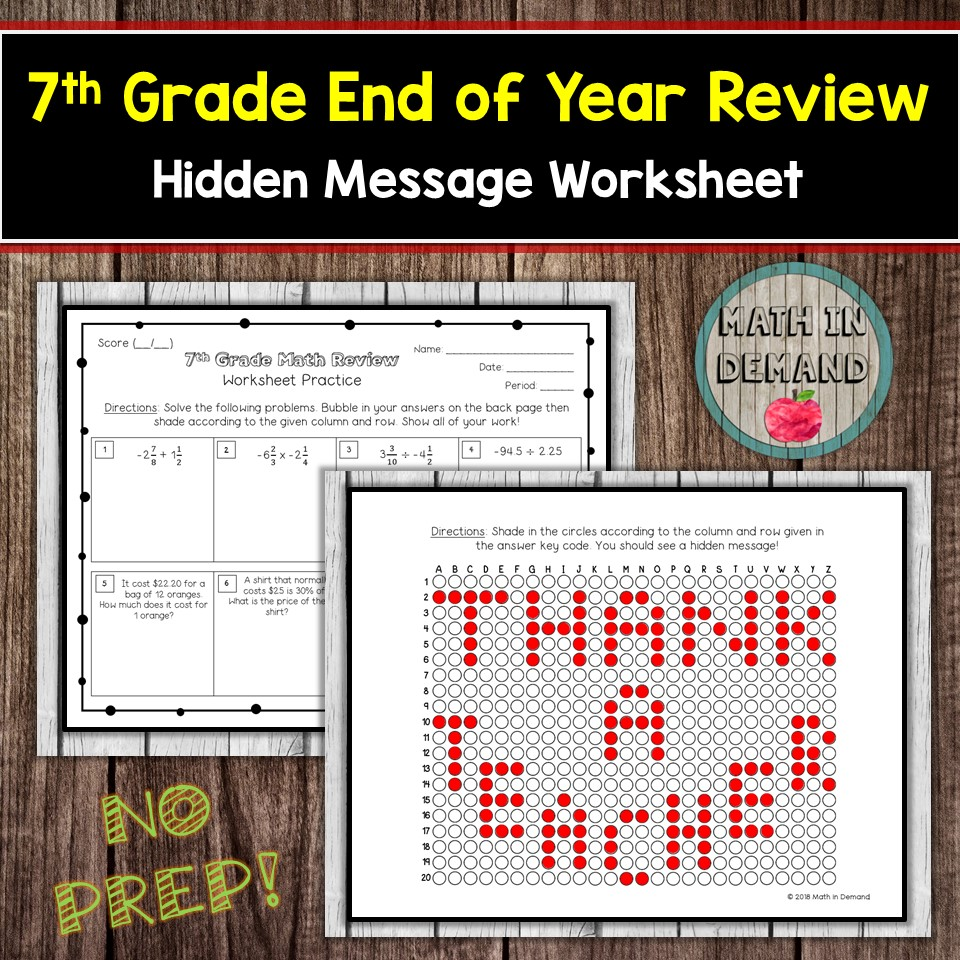 7th Grade Math End of Year Review Worksheet [ 960 x 960 Pixel ]
