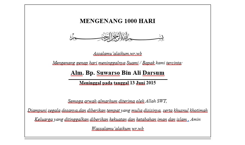 Fariz tekno: Contoh untuk tulisan di box makanan tahlilan ...