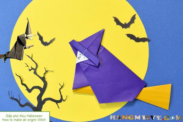 Cách gấp, xếp Phù thuỷ cưỡi chổi Halloween bằng giấy origami - How to make an origami Witch