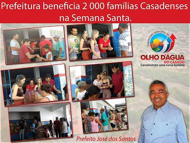 Em Olho D'Água do Casado, prefeitura   beneficia   2 mil  famílias com cestas de Semana Santa