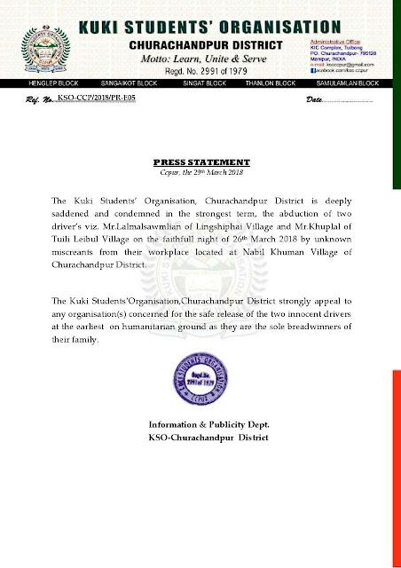 Kso churachandpur press statement phualvatimes reader interactions altavistaventures Images