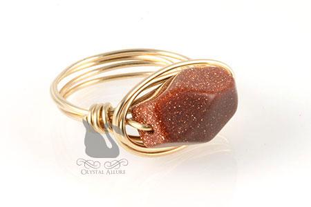 Treasure Chest Goldstone Gem Bead Ring (R104)