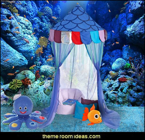 underwater bedroom ideas - under the sea theme bedrooms - mermaid theme bedrooms - sea life bedrooms - Little mermaid princess Ariel - Sponge Bob theme bedrooms - mermaid bedding - Disney's little mermaid - clamshell bed - mermaid murals - mermaid wall decal stickers