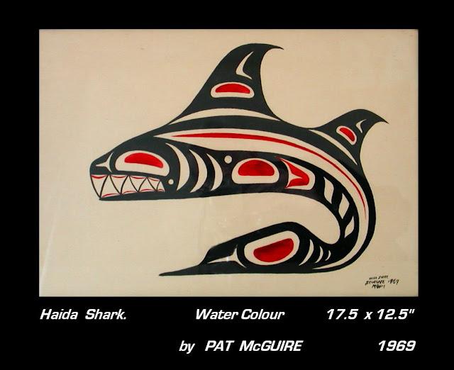 Pat McGuire watercolour Haida Shark